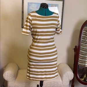 White and Tan striped T-shirt dress